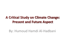 A Critical Study on Climate Change: Present and Future Aspect