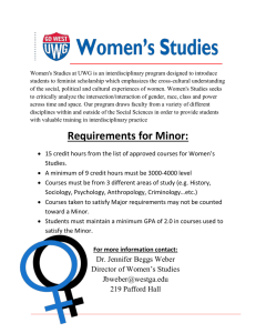 Minor Requirements for Women's Studies