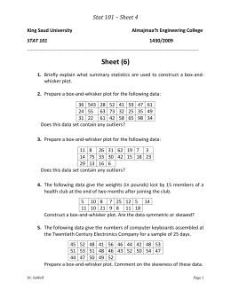 Box and whisker worksheet test scores