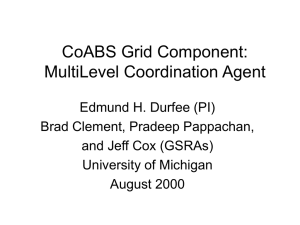 CoABS Grid Component: MultiLevel Coordination Agent