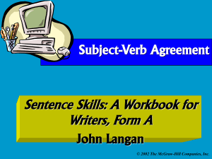 Subject-Verb Agreement Errors