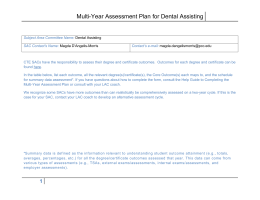 Multi-Year Assessment Plan for Dental Assisting