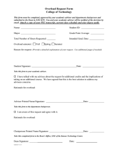 Overload Request Form College of Technology