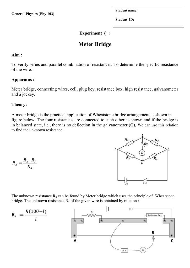 Pleasing Experiment Meter Bridge Wiring 101 Orsalhahutechinfo