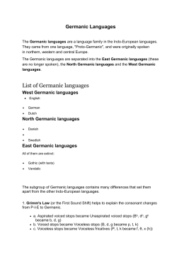 Germanic Languages-3ed lecture