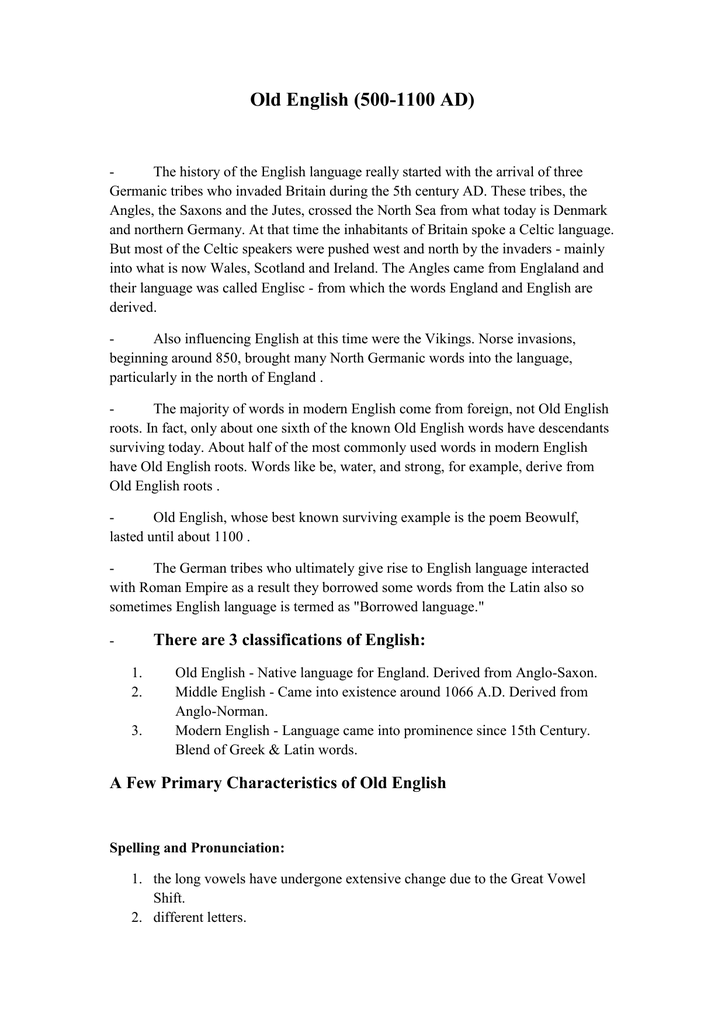 Old English- fourth lecture