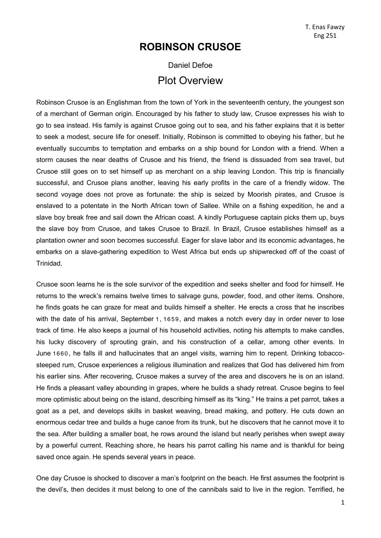 Essay on robinson crusoe