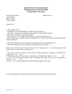 Application for Continuing Review Institutional Review Board (IRB) Chicago State University
