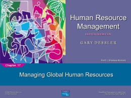 Human Resource Management Managing Global Human Resources 1