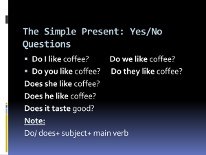 The Simple Present: Yes/No Questions Do I like Do you like