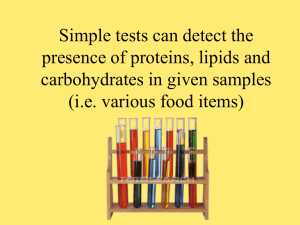 Simple tests can detect the presence of proteins, lipids and