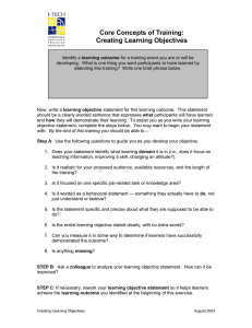 Core Concepts of Training: Creating Learning Objectives