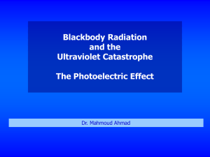Blackbody Radiation and the Ultraviolet Catastrophe The Photoelectric Effect