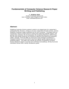 Fundamentals of Computer Science Research Paper Writing and Publishing