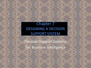 Chapter 7 DESIGNING A DECISION SUPPORT SYSTEM Decision Support Systems