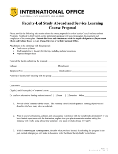 Faculty-Led Study Abroad and Service Learning Course Proposal Form