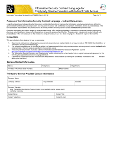Information Security Contract Language for  – Indirect Data Access