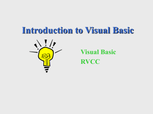 Introduction to Visual Basic Visual Basic RVCC
