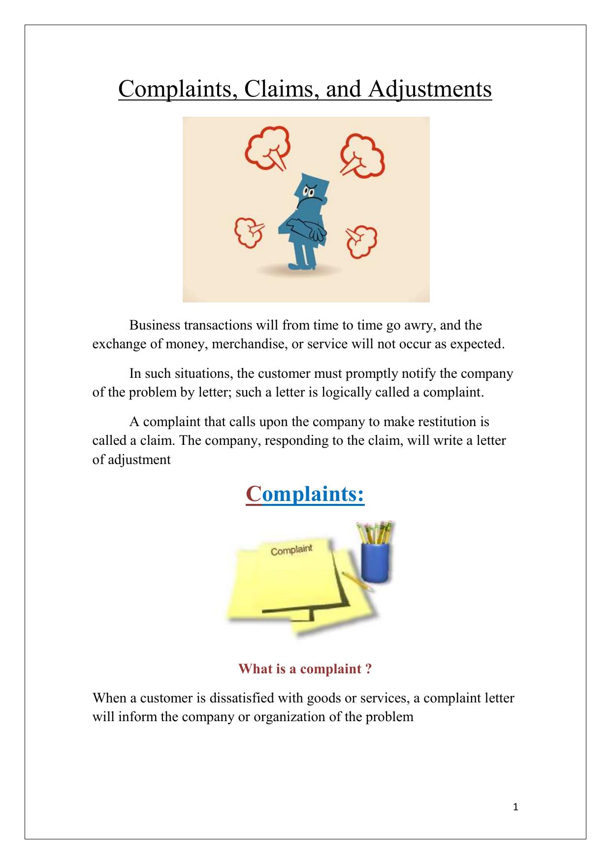 Complaints claims and adjustments altavistaventures Images