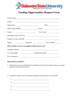 Funding Opportunities Request Form