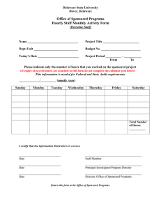 Office of Sponsored Programs Hourly Staff Monthly Activity Form