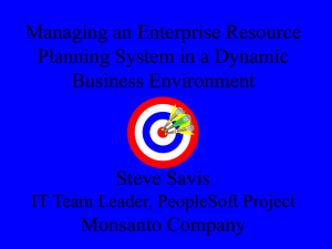 Managing an Enterprise Resource Planning System in a Dynamic Business Environment Steve Savis