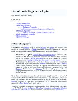 List of basic linguistics topics Contents