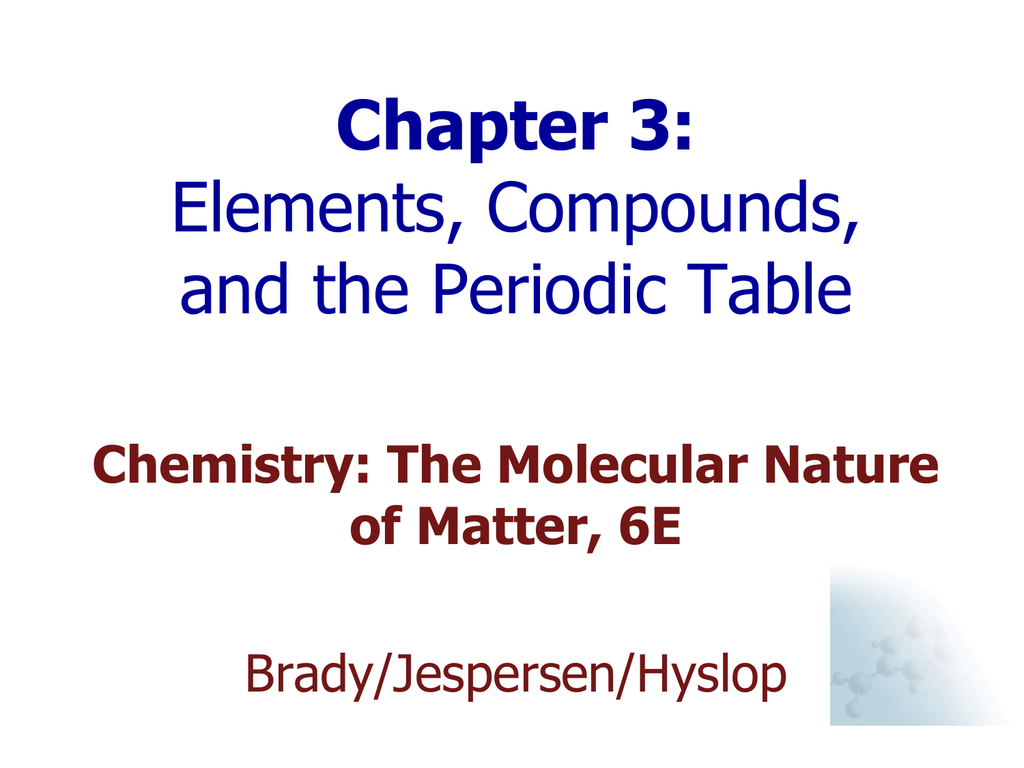 Chemistry: chapter 3