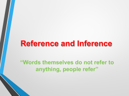 Chapter 3: Reference and Inference