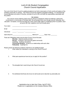 Lord of Life Student Congregation Church Council Application