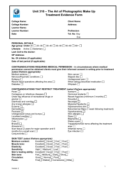 The Art Of Photographic Make Up Unit 316 Treatment Evidence Form