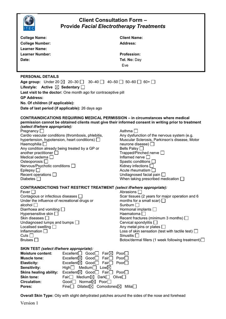 Sample Client Consultation Form