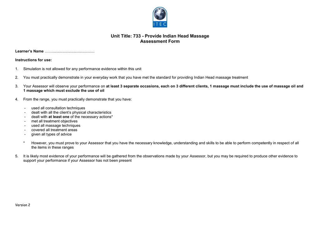 Unit Title 733 Provide Indian Head Massage Assessment Form