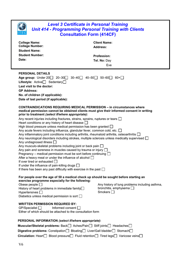 Level 3 Certificate In Personal Training Consultation Form 414cf
