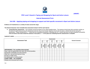 (426IAF) ITEC Level 3 Award in Taping and Strapping for Sport...  Internal Assessment Form