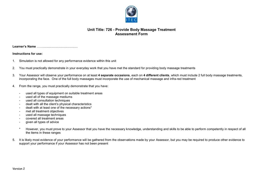 Unit Title 726 Provide Body Massage Treatment Assessment Form