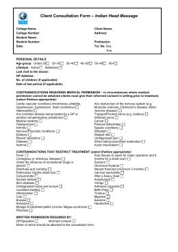 Treatment Evidence Form – Provide Indian Head Massage Unit 827
