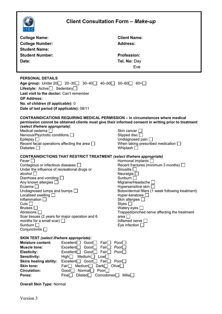 Sample Client Consultation Form Make Up – Medical Consultation Form