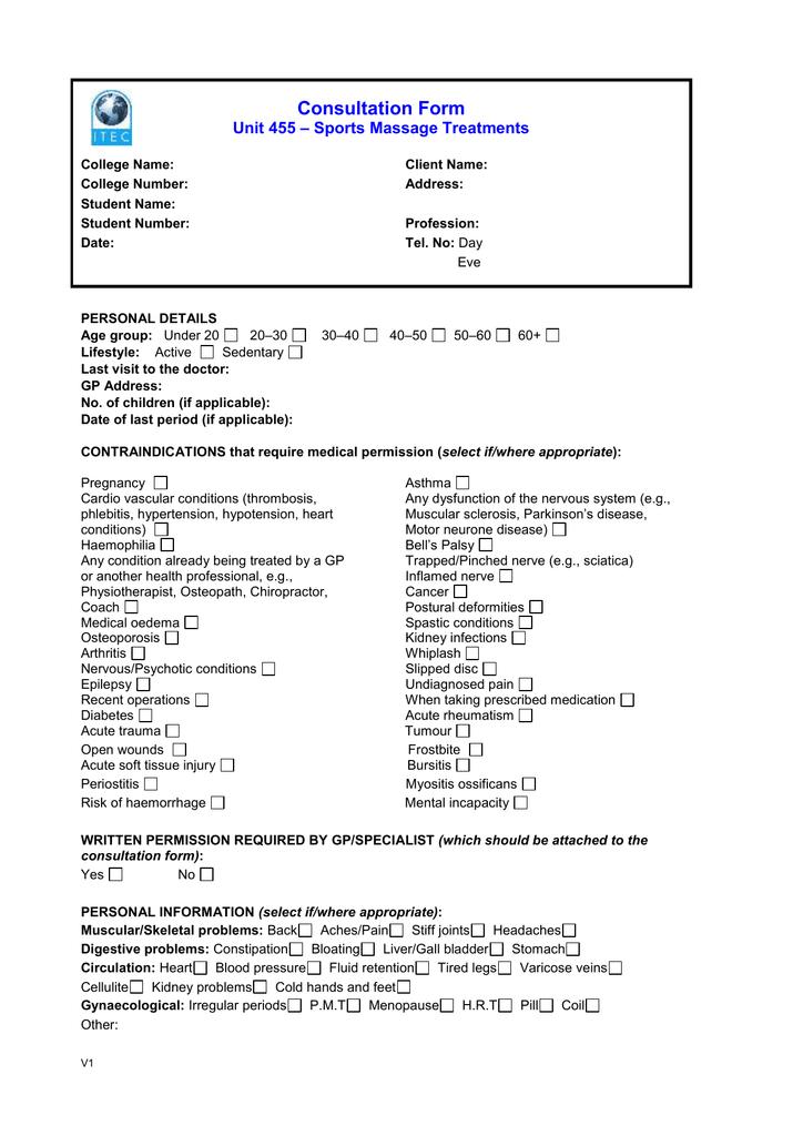 Consultation Form Unit 455 – Medical Consultation Form