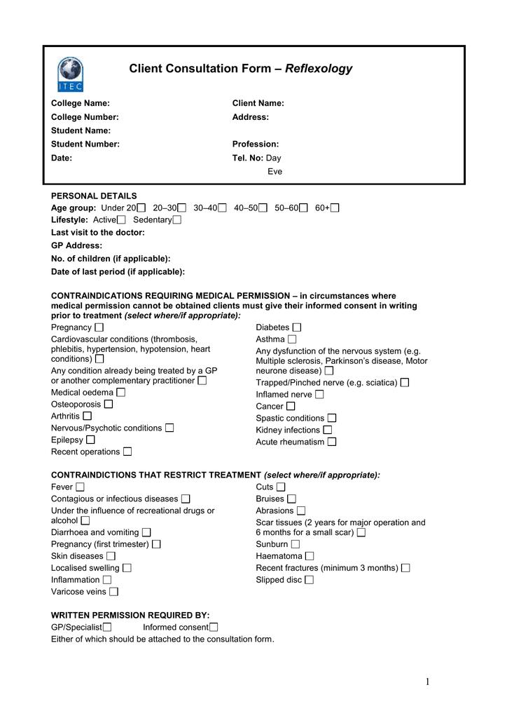 Reflexology Client Consultation Form