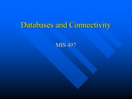 Databases and Connectivity MIS 497