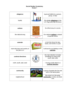 1st Grade Vocabulary chart with picture support