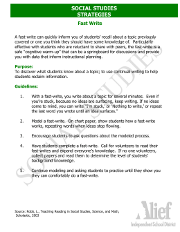 SOCIAL STUDIES STRATEGIES  Fast Write