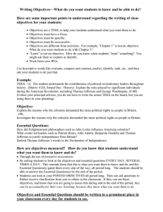 Writing Objectives—What do you want students to know and be...  Here are some important points to understand regarding the writing...