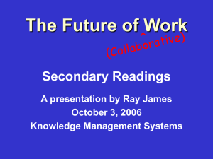 The Future of Work Secondary Readings A presentation by Ray James