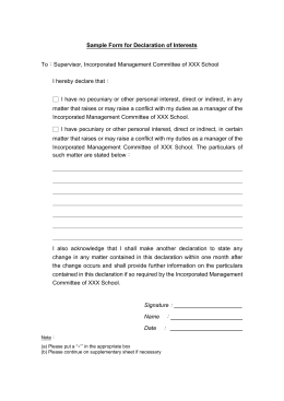 Conflict of Interest Disclosure Form