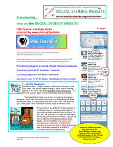 Introducing… new on the SOCIAL STUDIES WEBSITE  PBS Teachers Activity Packs