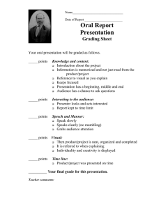 Oral Report Presentation  Grading Sheet