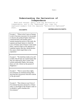 Worksheets American Declaration Of Independence Worksheet Answers matrix of excerpts from the declaration independence directions ss09