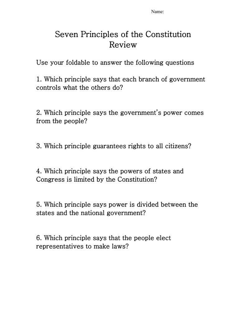 worksheet Seven Principles Of Government Worksheet Answers 7 principles of the constitution review ss09